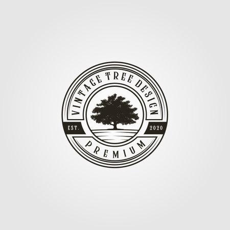 tree logo vintage vector in emblem illustration design