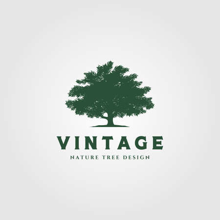 vintage tree logo vector symbol illustration design
