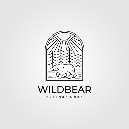 wild bear vintage adventure logo line art vector symbol illustration design Illusztráció