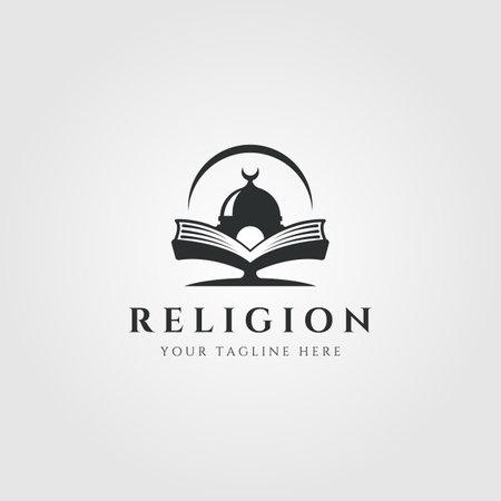 islamic institution with mosque logo vector symbol illustration design