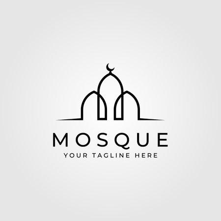 line art mosque building minimalist logo vector illustration design