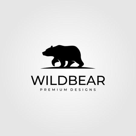 vintage bear walk logo vector symbol illustration design Illusztráció