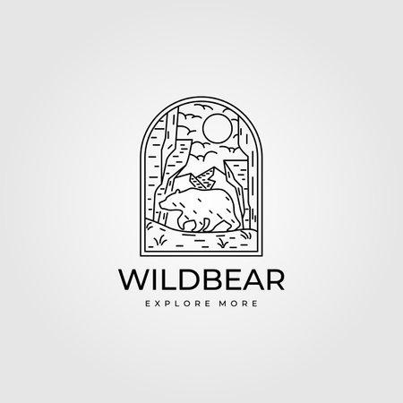 wild bear vintage outdoor logo line art vector symbol illustration design