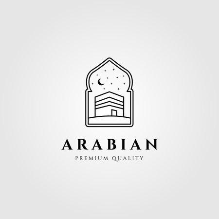 arabian kaaba line art symbol logo vector illustration design