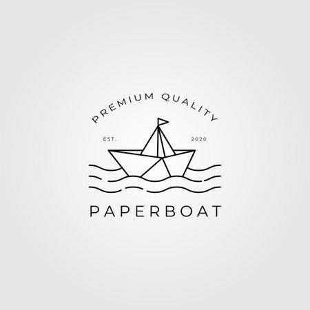 paper boat line art minimalist vector emblem illustration design