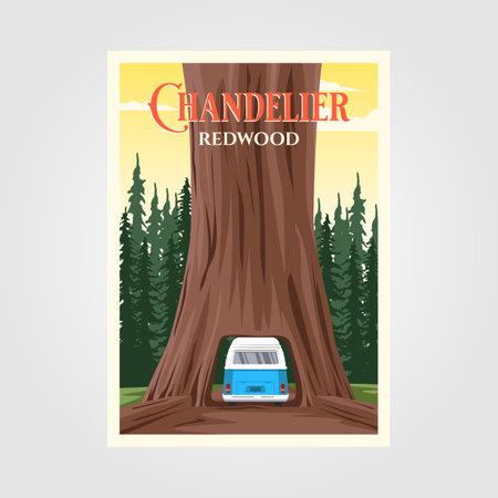 chandelier tree with bus on redwood national park vintage poster illustration design