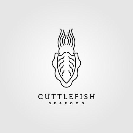 line art cuttlefish minimalist vector symbol illustration design 向量圖像