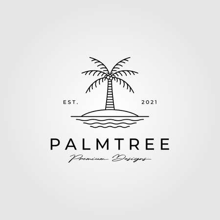 palm tree line art minimalist vector symbol illustration design