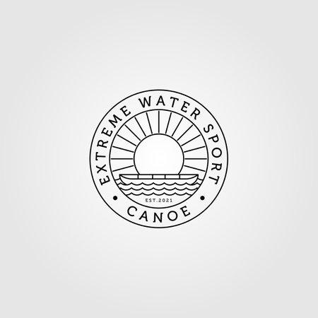 canoe logo line art minimalist with sunburst vintage vector illustration design Illusztráció
