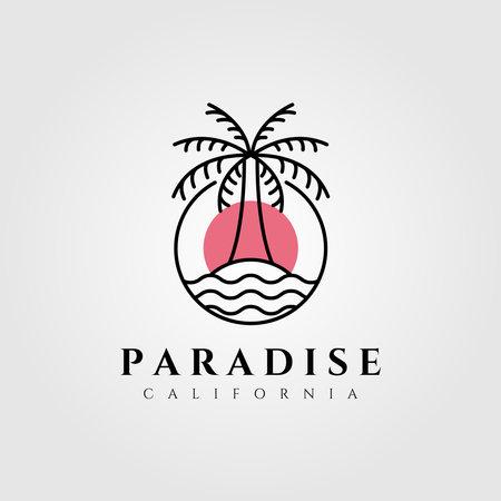 nature palm tree logo vector coconut line art minimalist emblem illustration design