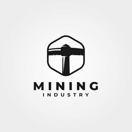 mining coal pickaxe logo vector vintage symbol illustration design