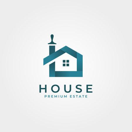 colorful house brushes logo creative clever vector symbol illustration design