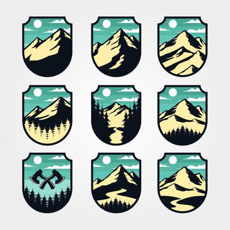 mountain vintage logo set adventure outdoor symbol vector illustration design