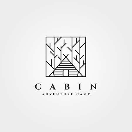 vintage cabin line art  vector symbol illustration design Illustration