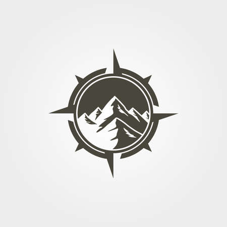 compass mountain outdoor   vintage vector symbol illustration design