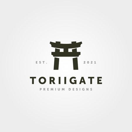 vintage torii gate logo minimalist vector symbol illustration design 向量圖像