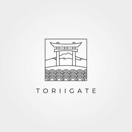 torii gate temple logo with fuji mountain line art japanese culture vector illustration design