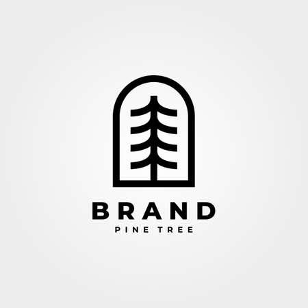 vintage pines emblem logo vector symbol minimalist illustration design