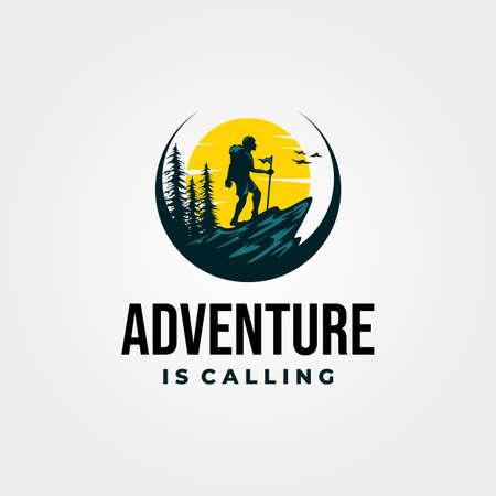 adventure travel poster vintage background illustration design Banque d'images - 164130630
