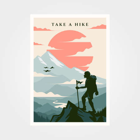 adventure travel poster vintage background illustration design Banque d'images - 164130650