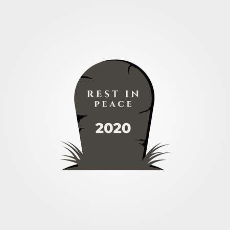 rest in peace 2020 object symbol vector illustration design