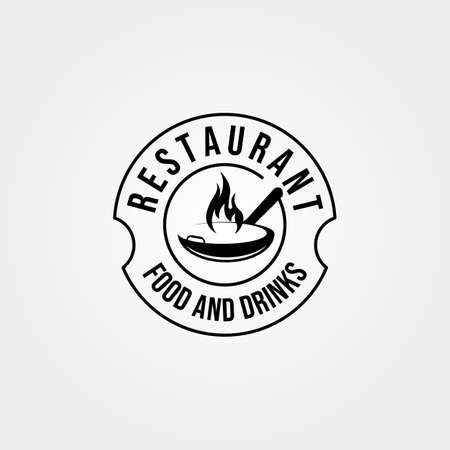 hot wok pan logo vector vintage emblem illustration design