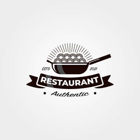 vintage noodle restaurant logo vector symbol illustration design Illustration