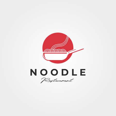 noodle and wok logo vector symbol illustration design
