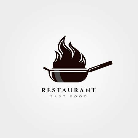 fire wok pan logo vector vintage restaurant symbol illustration design