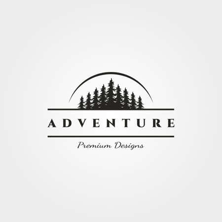 landscape pine tree logo vector minimalist with sun silhouette illustration design Illustration