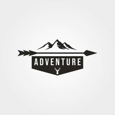 mountain adventure outdoor logo vector vintage symbol illustration design