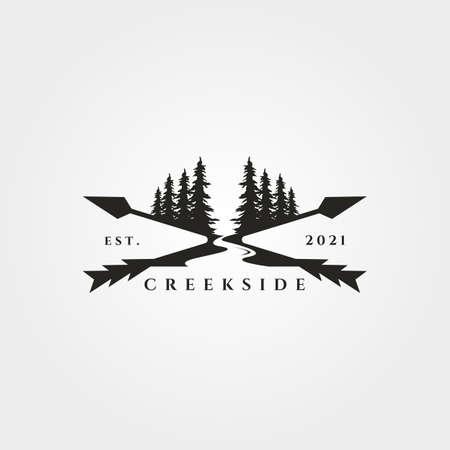 pine tree river logo landscape vector vintage illustration design