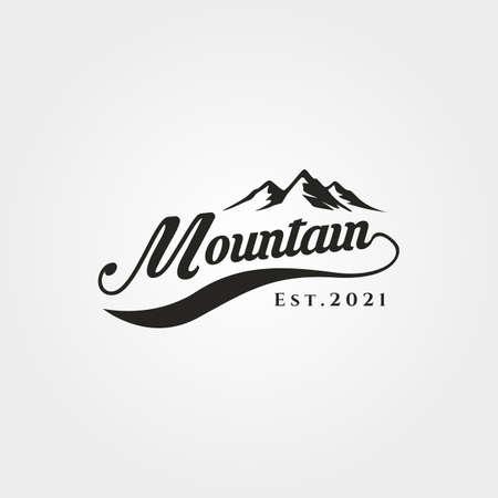 mountain adventure lettering logo vector symbol illustration design, outdoor mountain hike logo symbol design