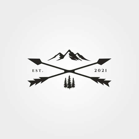arrow cross adventure outdoor logo vector vintage symbol illustration design, vintage mountain symbol design Illustration