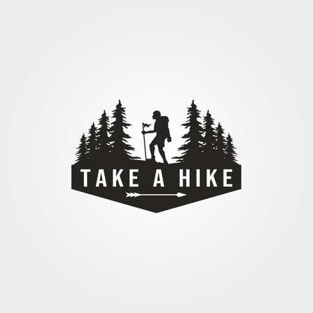take a hike logo vector with man hiking symbol illustration design Illustration