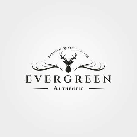 antlers deer logo vintage vector symbol illustration design