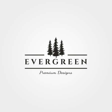 pine tree with antler logo vector evergreen vintage symbol illustration design