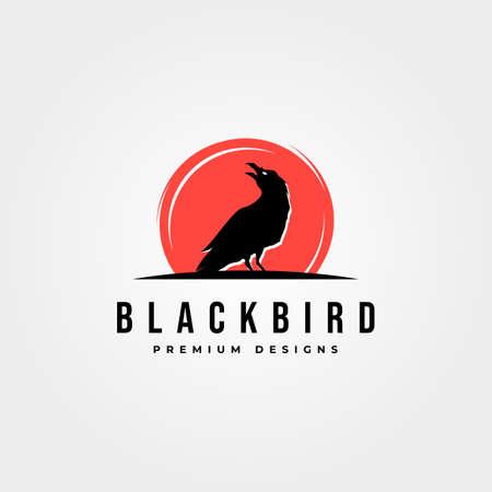 black bird icon logo vector with red background symbol illustration design Illustration