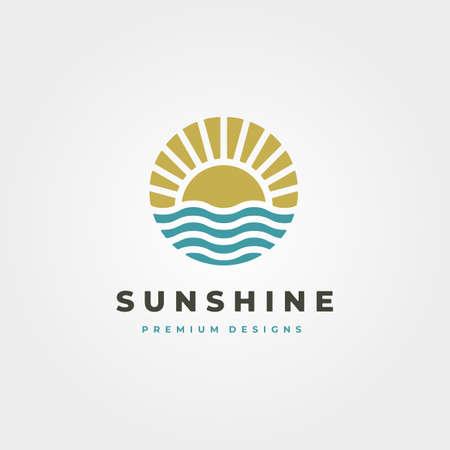sun and waves icon logo vector symbol illustration design, sun vintage logo for business company design Illustration