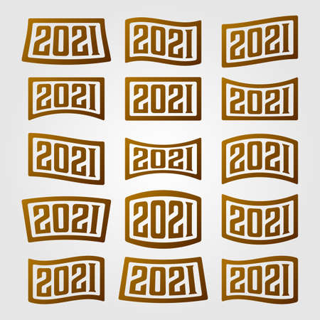 2021 number collection logo new year vector illustration design