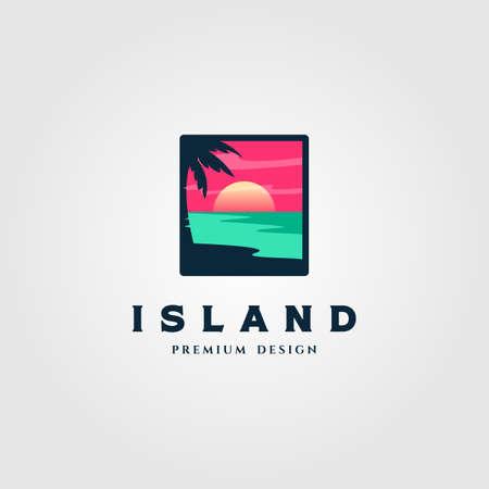 island landscape logo vector illustration design