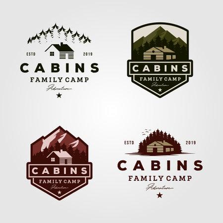 vintage cabins logo collections vector illustration Illustration
