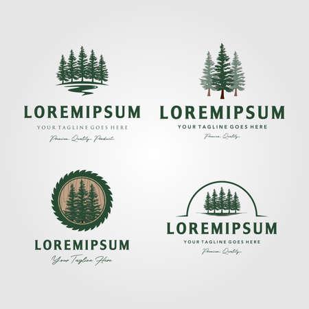 set of evergreen pine tree logo vintage with river creek vector emblem illustration design