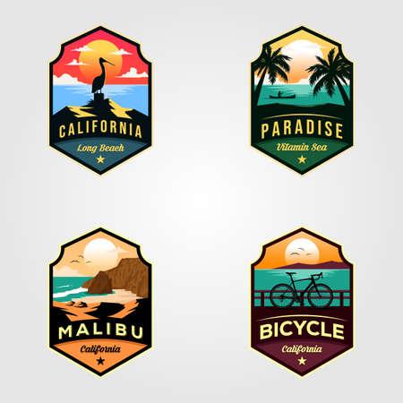 set of beach logo travel illustration designs Illustration