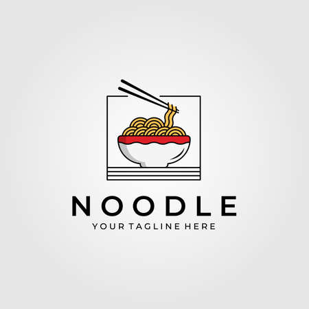 noodle food with chopsticks logo vector illustration design, chinese or japanese vector symbol Banque d'images - 164207881