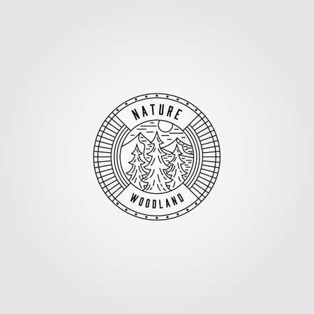 vintage nature woodland line art logo vector illustration design