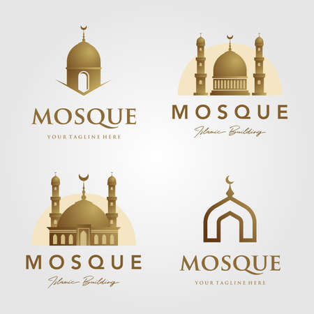 set of mosque logo islamic symbol gold color minimalist vector icon illustration Banque d'images - 164207886