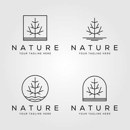line art pine tree logo set vector minimalist illustration design Illustration