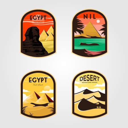 set of egypt logo patch vintage vector illustration design