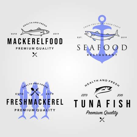 set of seafood fish logo vintage hipster label badge vector illustration